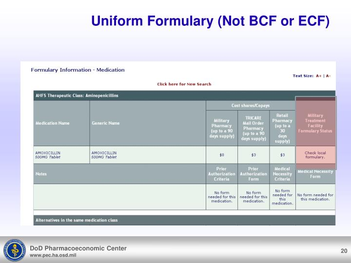 Uniform Formulary (Not BCF or ECF)