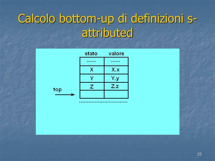 Calcolo bottom-up di definizioni s-attributed