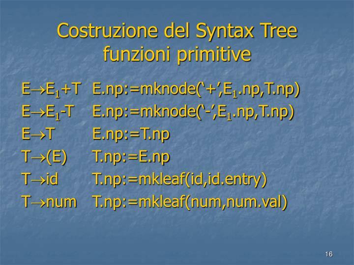 Costruzione del Syntax Tree funzioni primitive