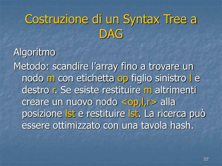 Costruzione di un Syntax Tree a DAG