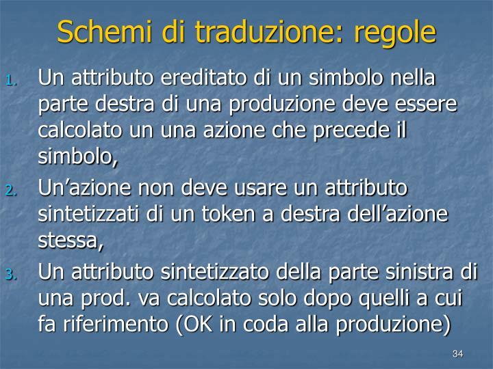 Schemi di traduzione: regole