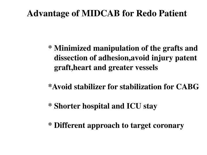 Advantage of MIDCAB for Redo Patient