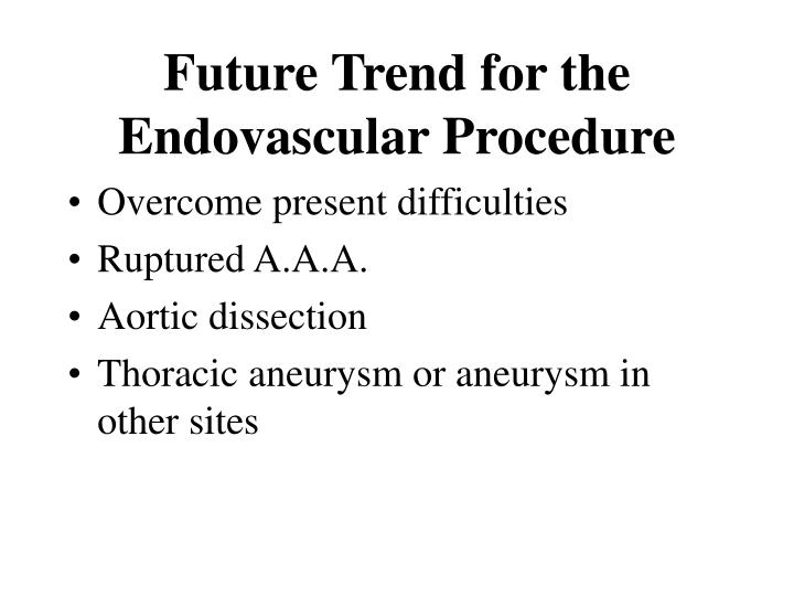 Future Trend for the Endovascular Procedure