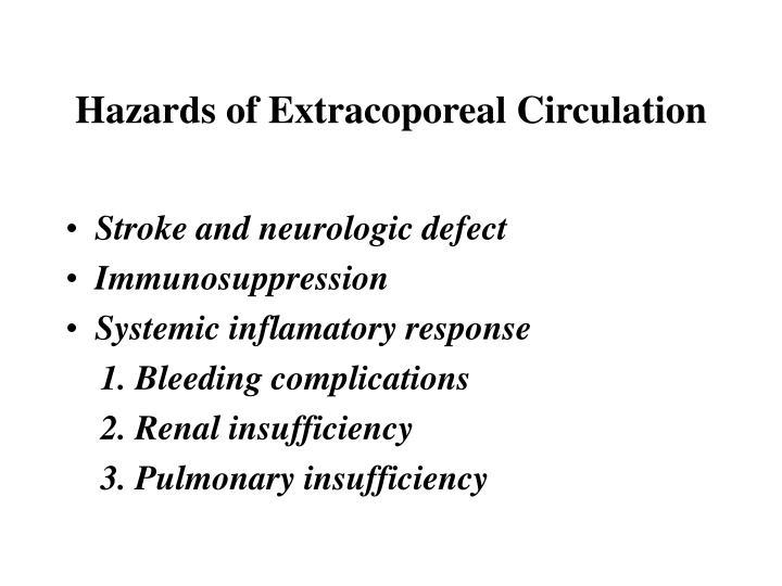Hazards of Extracoporeal Circulation