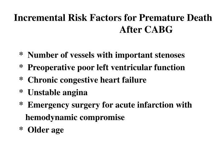 Incremental Risk Factors for Premature Death