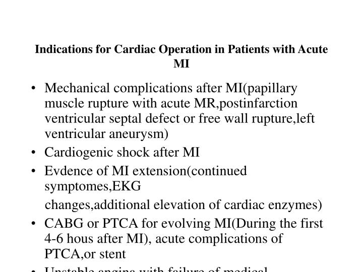 Indications for Cardiac Operation in Patients with Acute MI