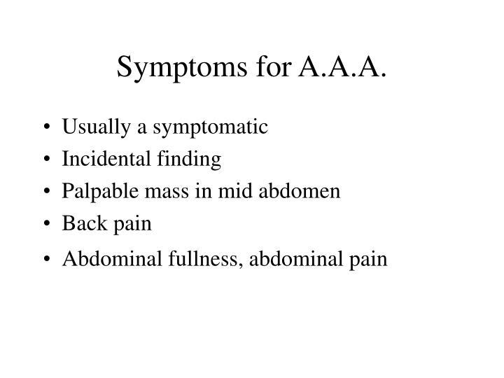 Symptoms for A.A.A.