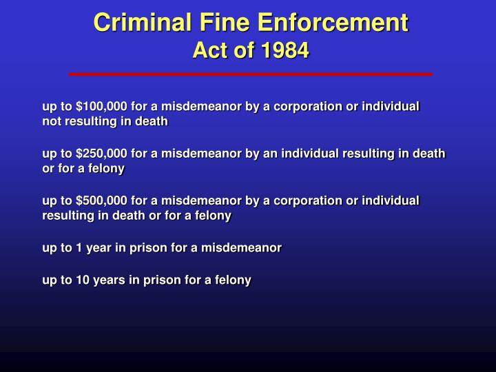 Criminal Fine Enforcement