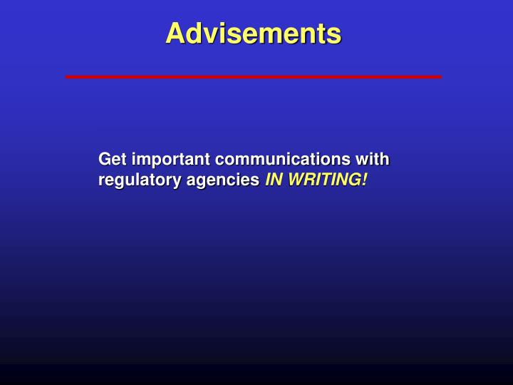 Advisements