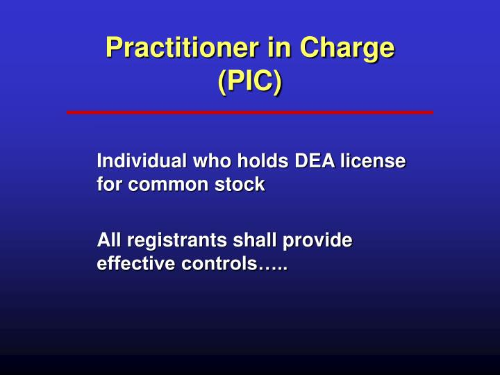 Practitioner in Charge