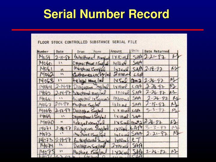 Serial Number Record