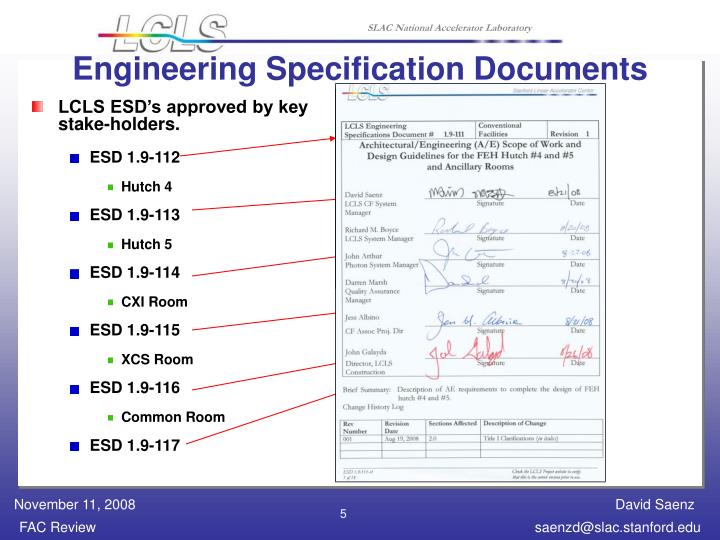 Engineering Specification Documents