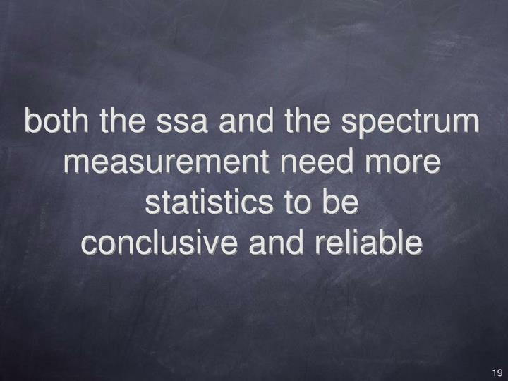 both the ssa and the spectrum measurement need more statistics to be