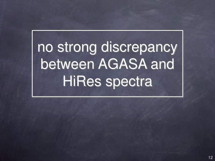 no strong discrepancy between AGASA and HiRes spectra