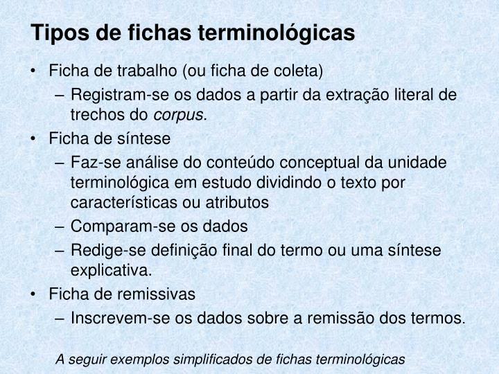 Tipos de fichas terminológicas