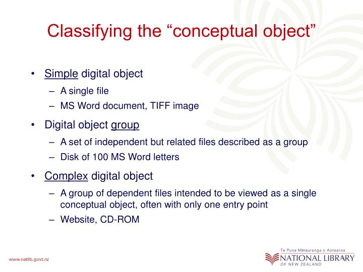 "Classifying the ""conceptual object"""