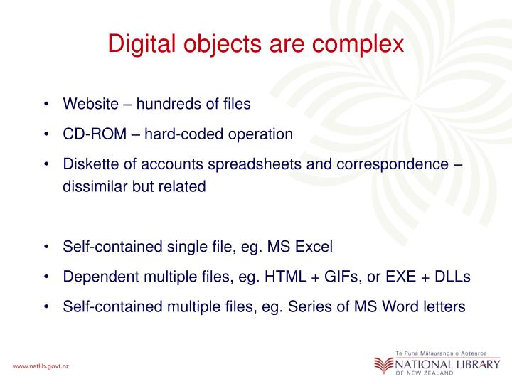 Digital objects are complex