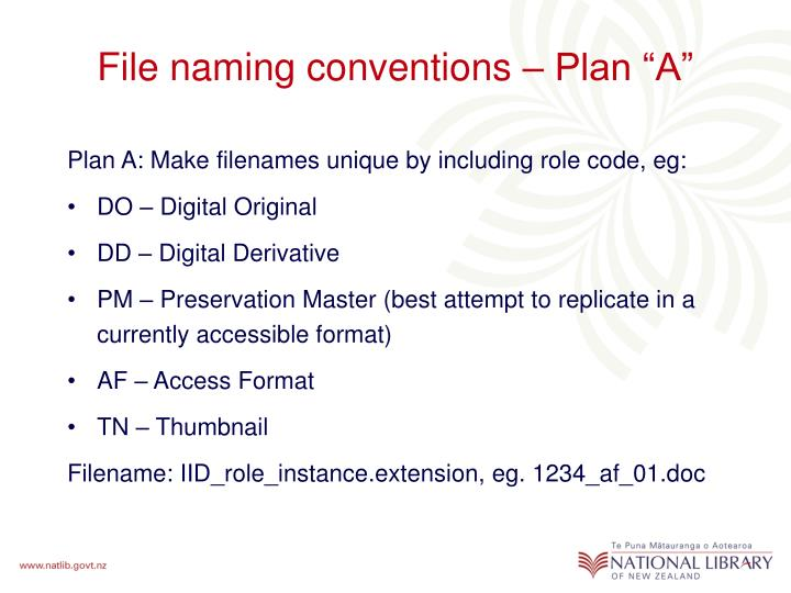 "File naming conventions – Plan ""A"""