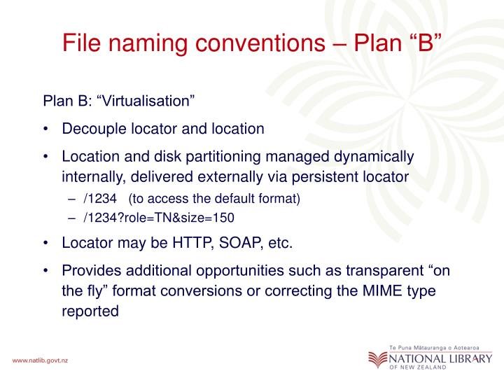 "File naming conventions – Plan ""B"""