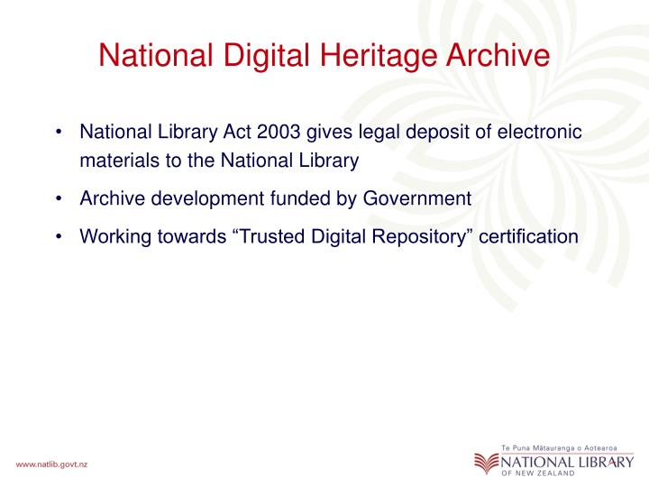 National Digital Heritage Archive