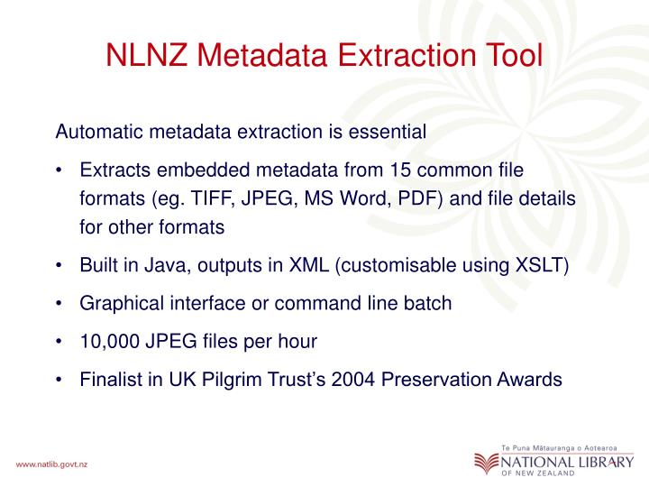 NLNZ Metadata Extraction Tool