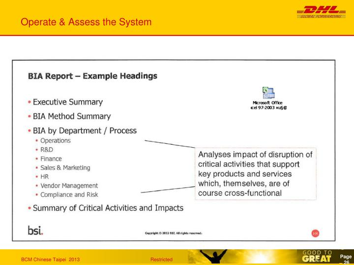 Operate & Assess the System