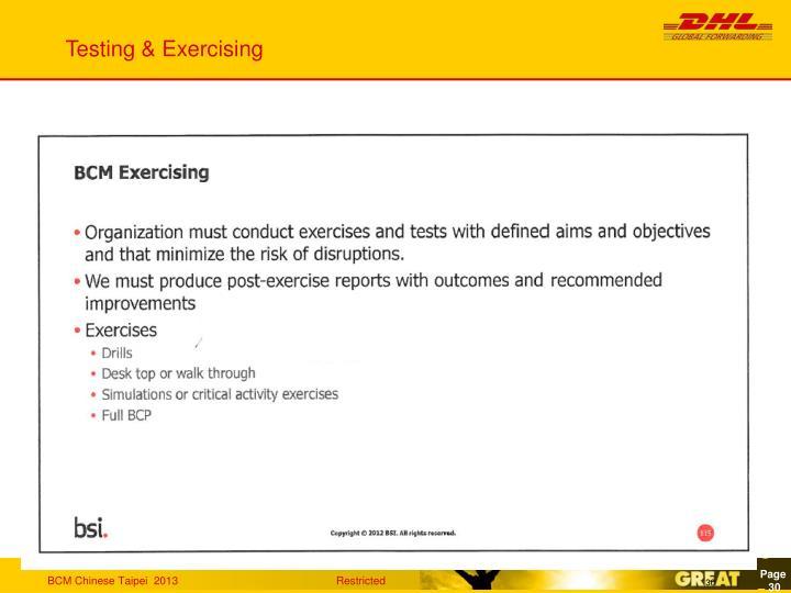 Testing & Exercising