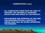 carryover cont