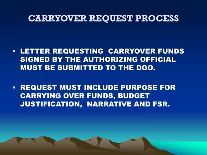 CARRYOVER REQUEST PROCESS