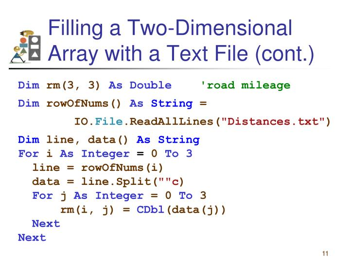 Filling a Two-Dimensional Array with a Text File (cont.)