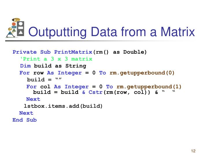 Outputting Data from a Matrix