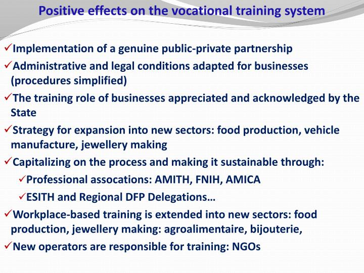 Positive effects on the vocational training system