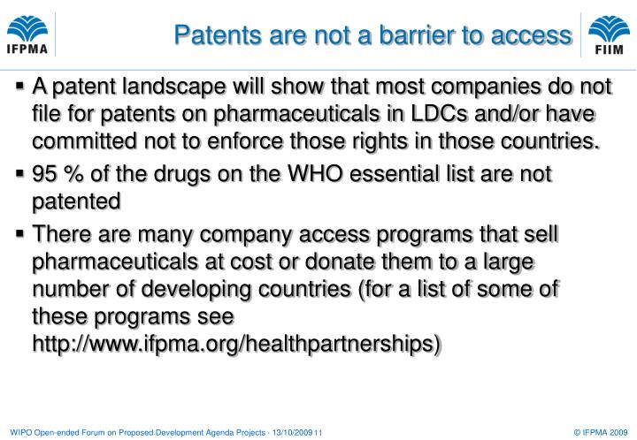 Patents are not a barrier to access