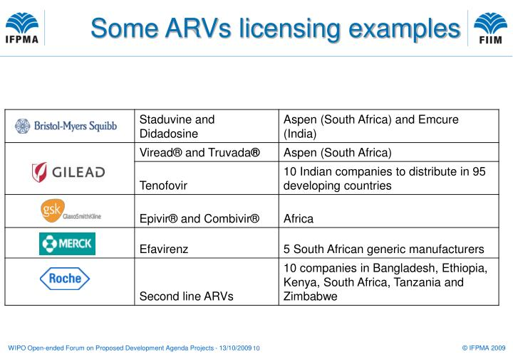 Some ARVs licensing examples