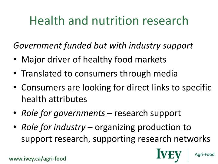 Health and nutrition research