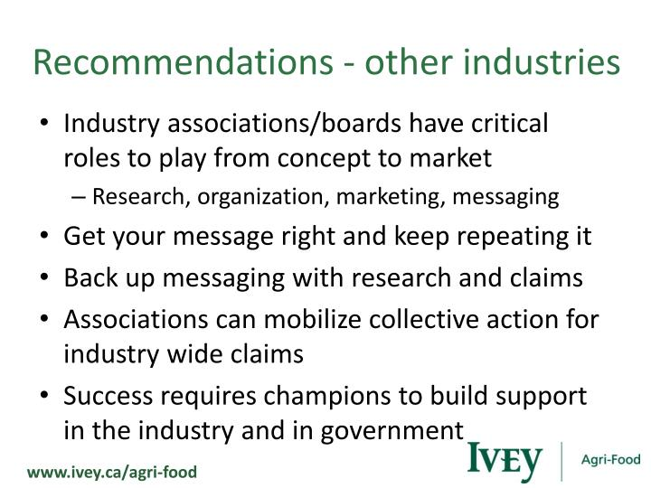 Recommendations - other industries
