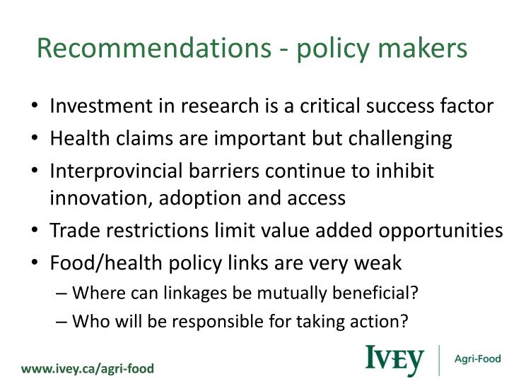 Recommendations - policy makers