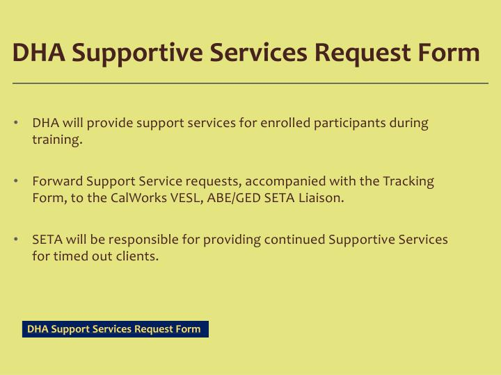 DHA Supportive Services Request Form