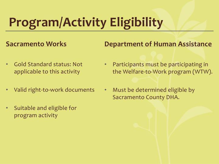 Program/Activity Eligibility