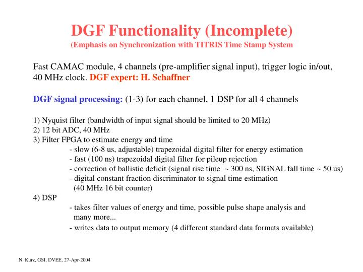 DGF Functionality (Incomplete)