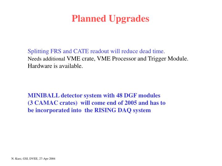 Planned Upgrades