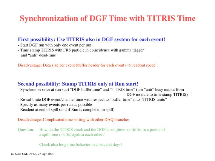 Synchronization of DGF Time with TITRIS Time