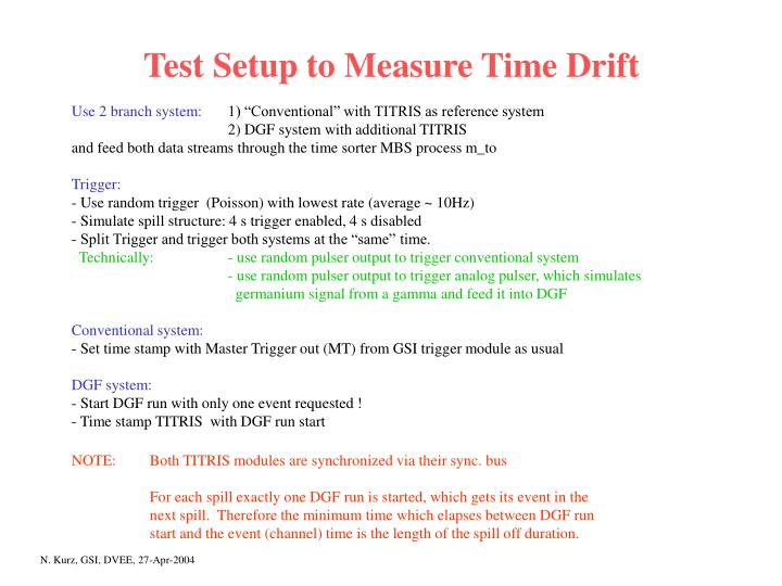 Test Setup to Measure Time Drift