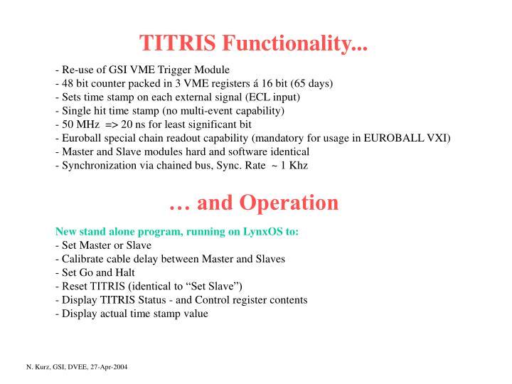 TITRIS Functionality...
