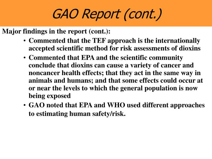 GAO Report (cont.)