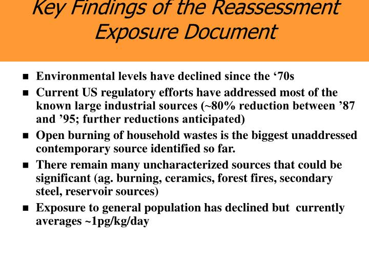 Key Findings of the Reassessment