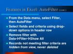 features in excel autofilter cont