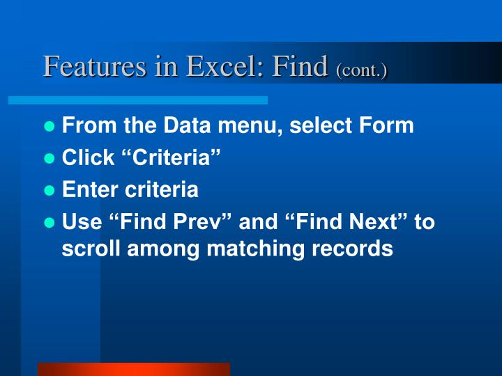 Features in Excel: Find