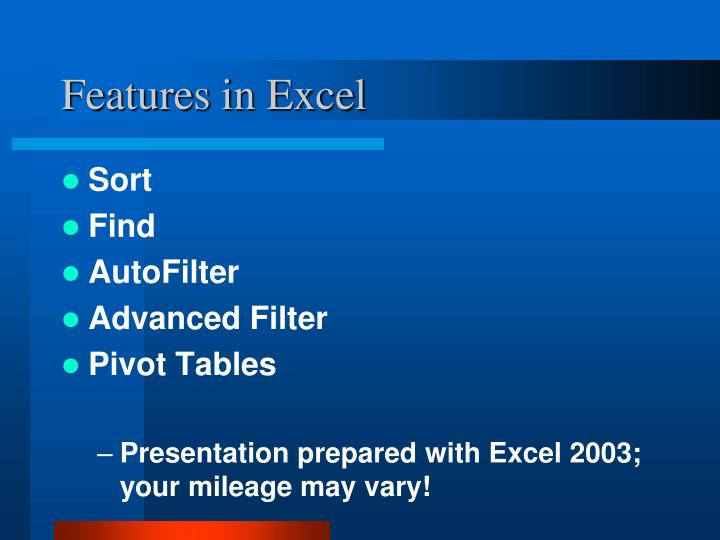 Features in Excel
