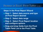 features in excel pivot tables cont